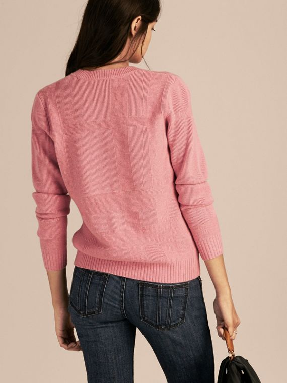 Check-knit Wool Cashmere Sweater in Hydrangea Pink Melange - cell image 2
