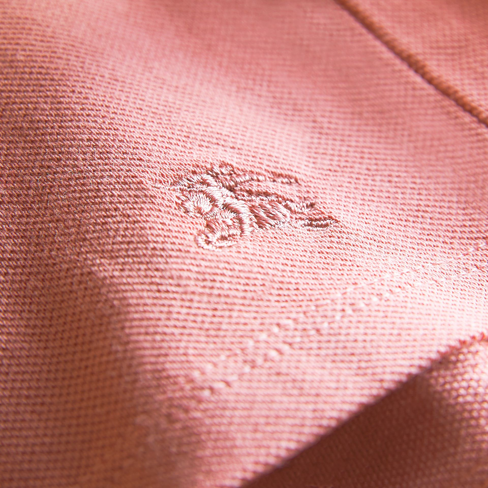 Peter Pan Collar Cotton Piqué Polo Shirt in Pale Rose - Girl | Burberry - gallery image 2