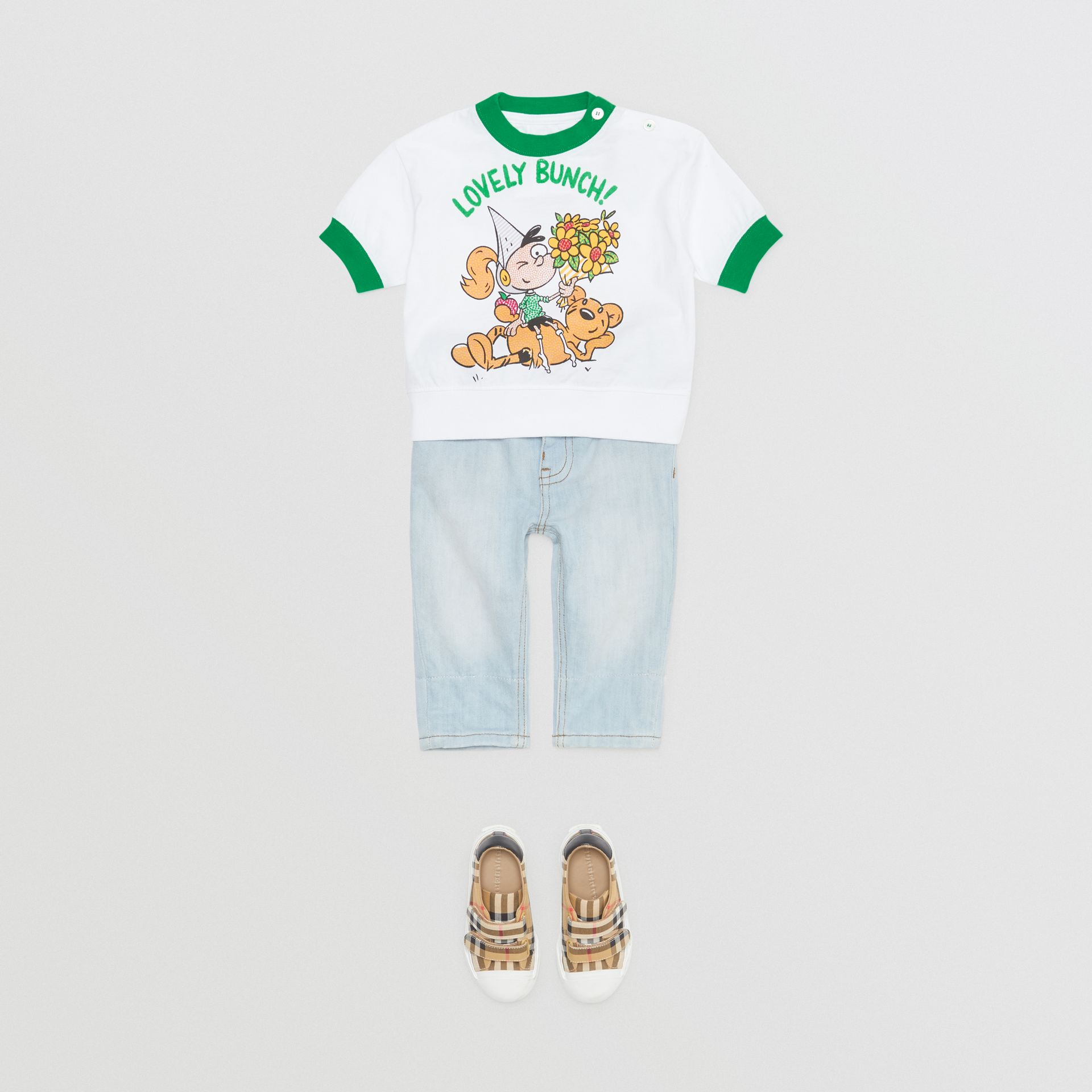 Cartoon Print Cotton T-shirt in White - Children | Burberry - gallery image 2