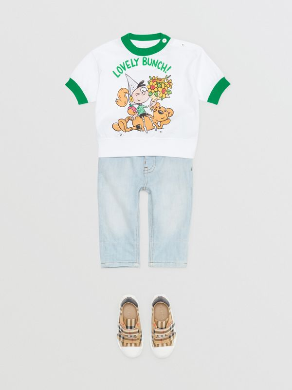 Cartoon Print Cotton T-shirt in White - Children | Burberry - cell image 2