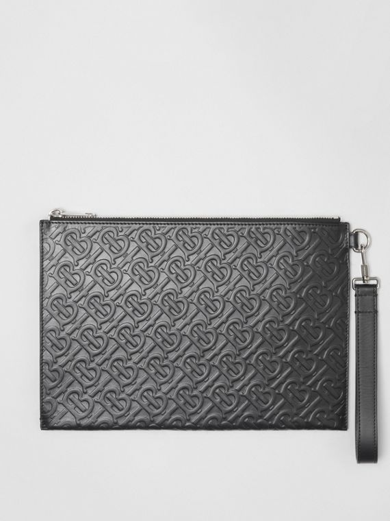 Monogram Leather Zip Pouch in Black
