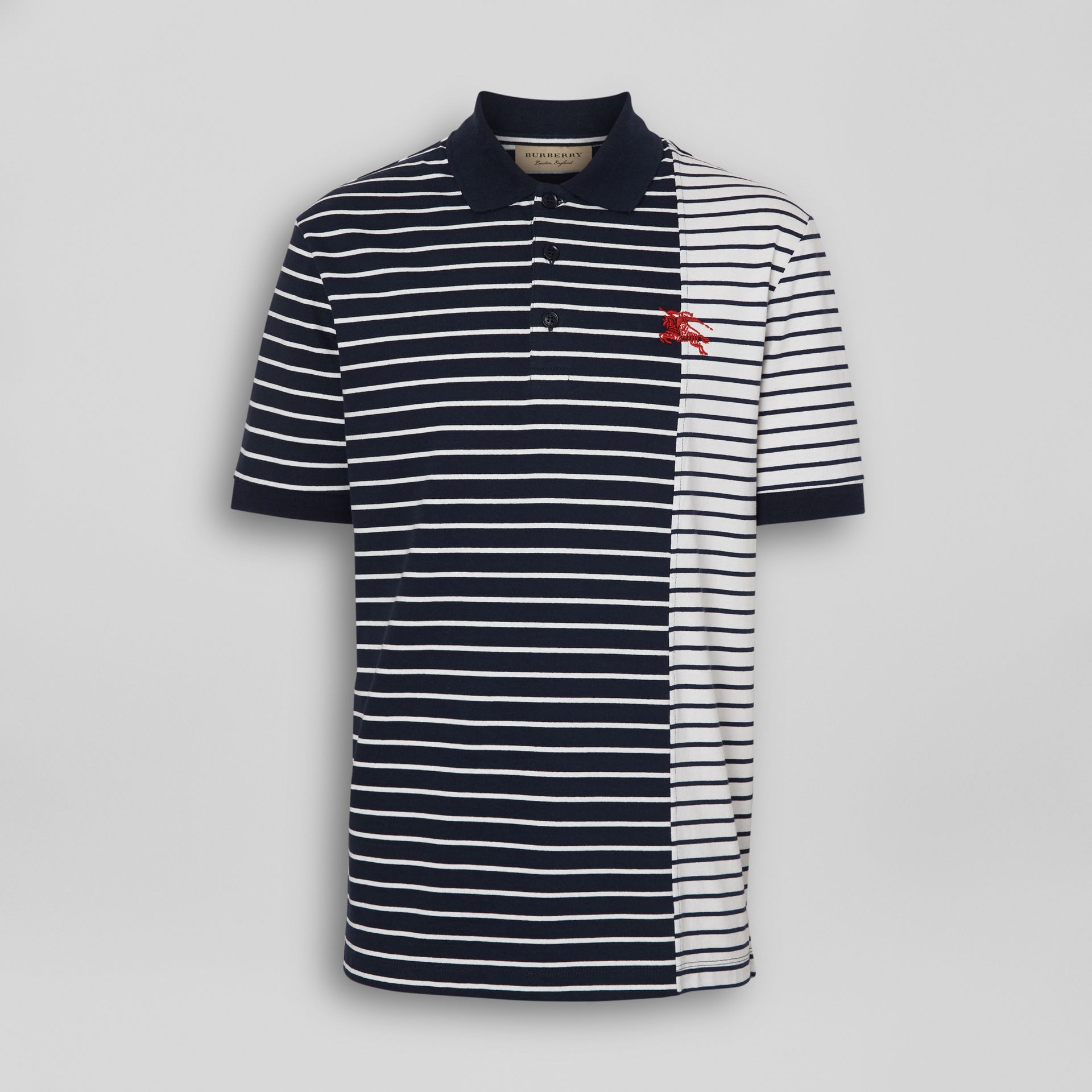Contrast Stripe Cotton Polo Shirt in Bright Navy - Men | Burberry - gallery image 3