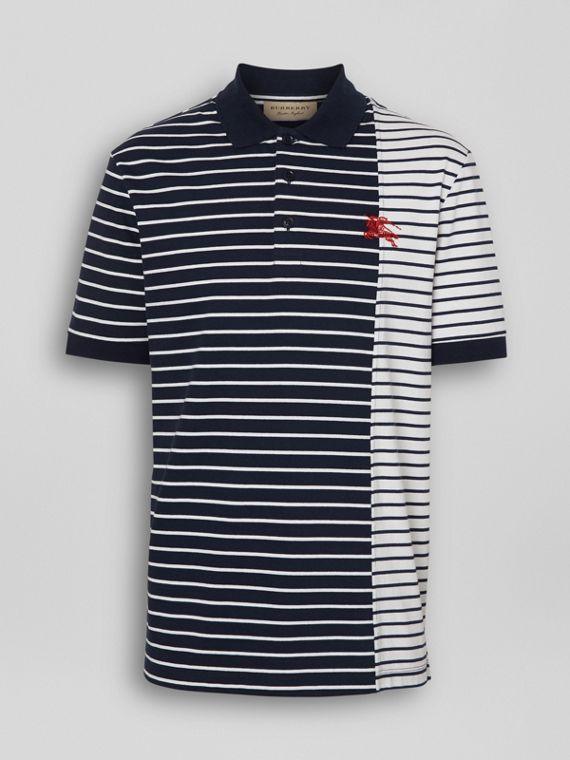 Contrast Stripe Cotton Polo Shirt in Bright Navy