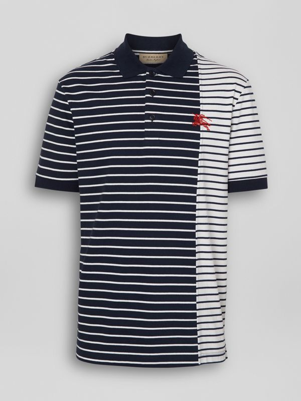 Contrast Stripe Cotton Polo Shirt in Bright Navy - Men | Burberry United Kingdom - cell image 3