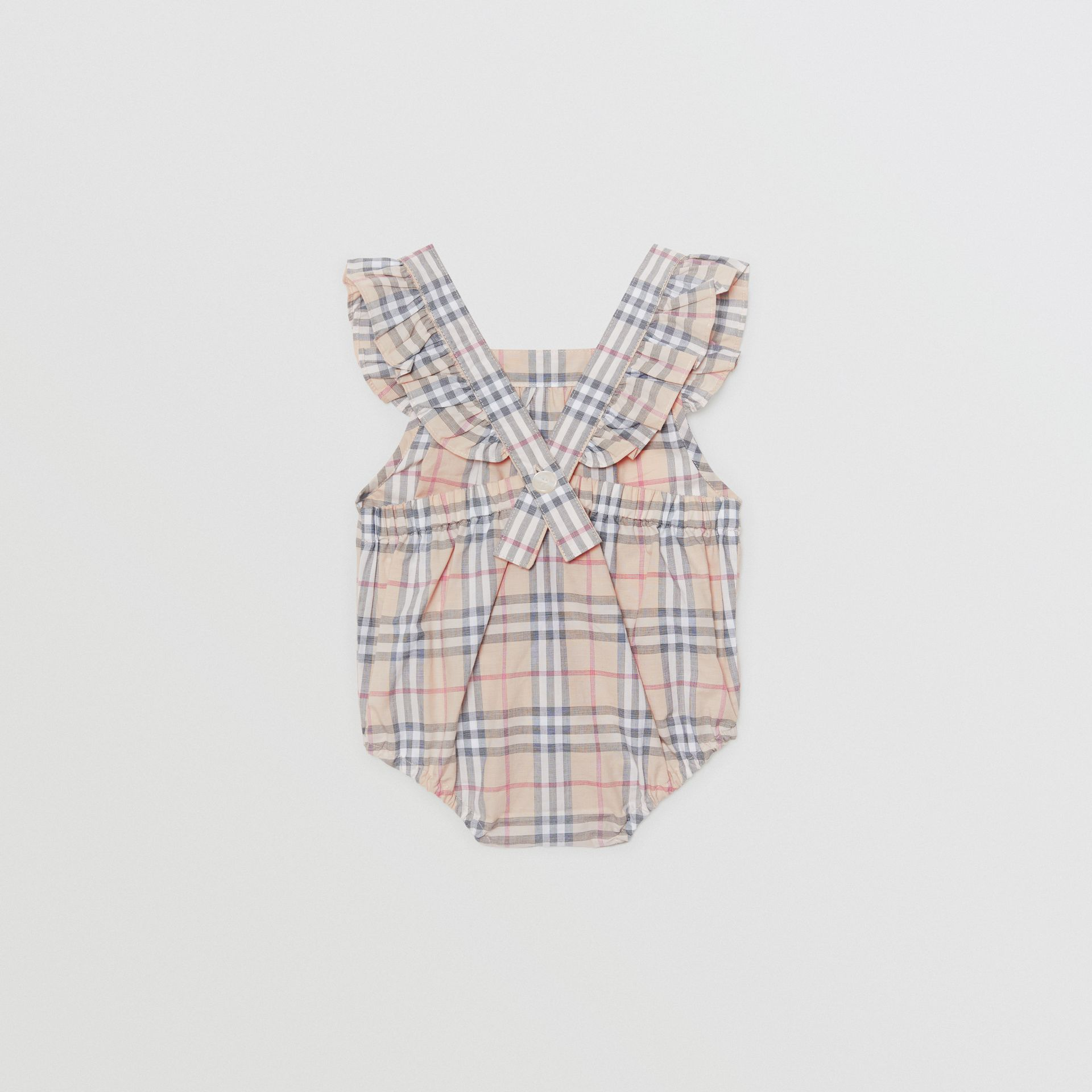 Body en coton à motif check avec volants (Stone Pâle) - Enfant | Burberry Canada - photo de la galerie 3