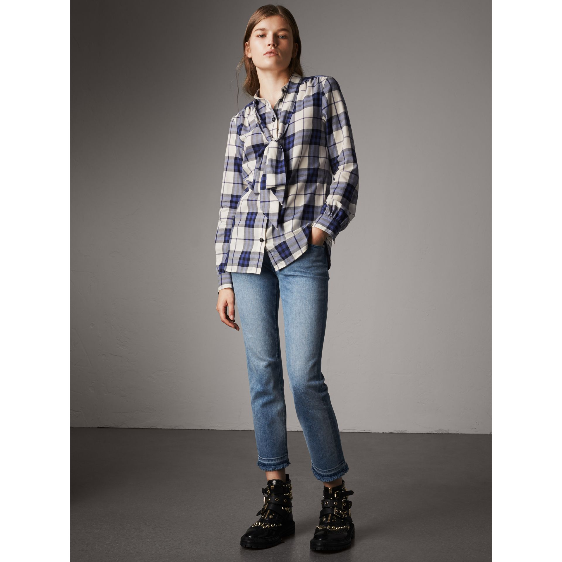 Pussy-bow Check Flannel Shirt in Bright Navy - Women | Burberry - gallery image 5