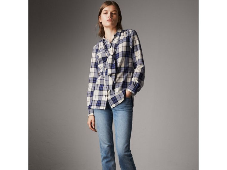Pussy-bow Check Flannel Shirt in Bright Navy - Women | Burberry - cell image 4