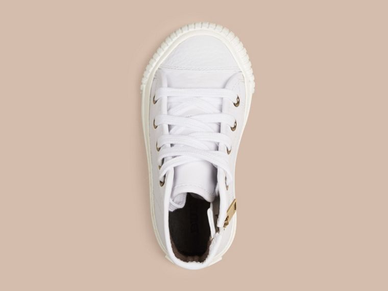 White Leather High-Top Trainers - cell image 1