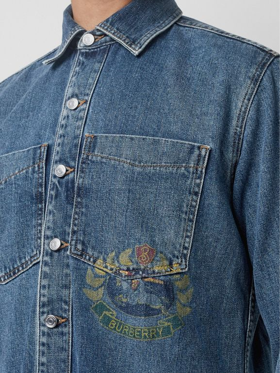 Crest Print Denim Overshirt in Mid Indigo - Men | Burberry - cell image 1