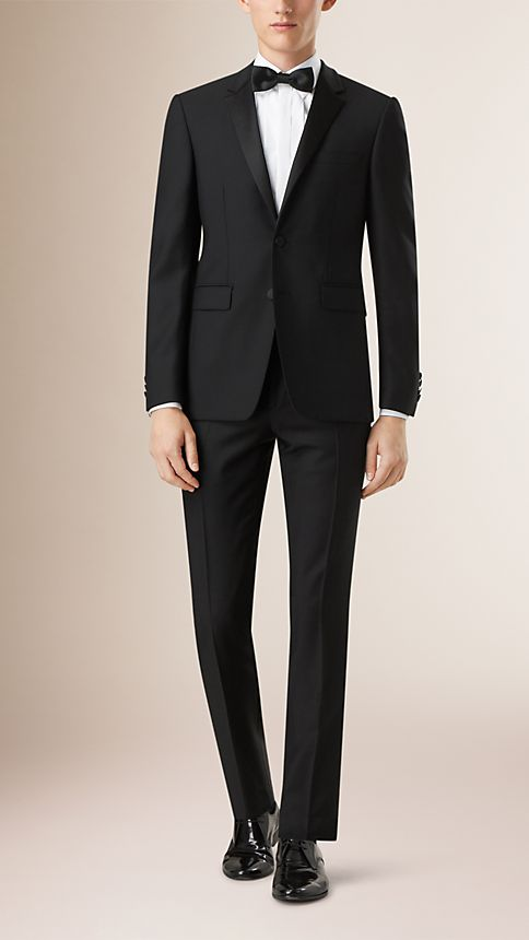 Black Slim Fit Wool Mohair Half-canvas Tuxedo - Image 1