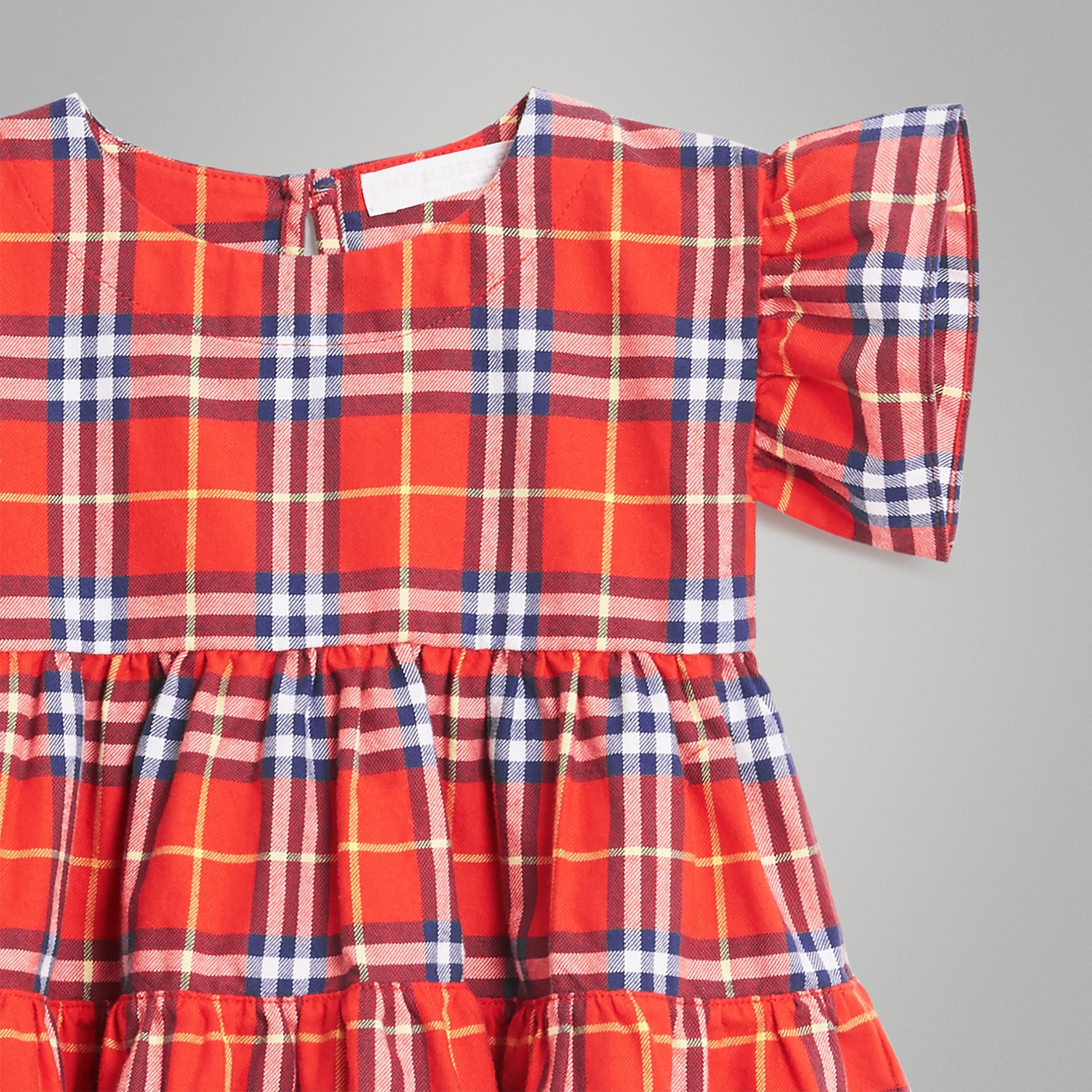 Ruffle Detail Cotton Check Dress in Orange Red - Children | Burberry Australia - gallery image 4