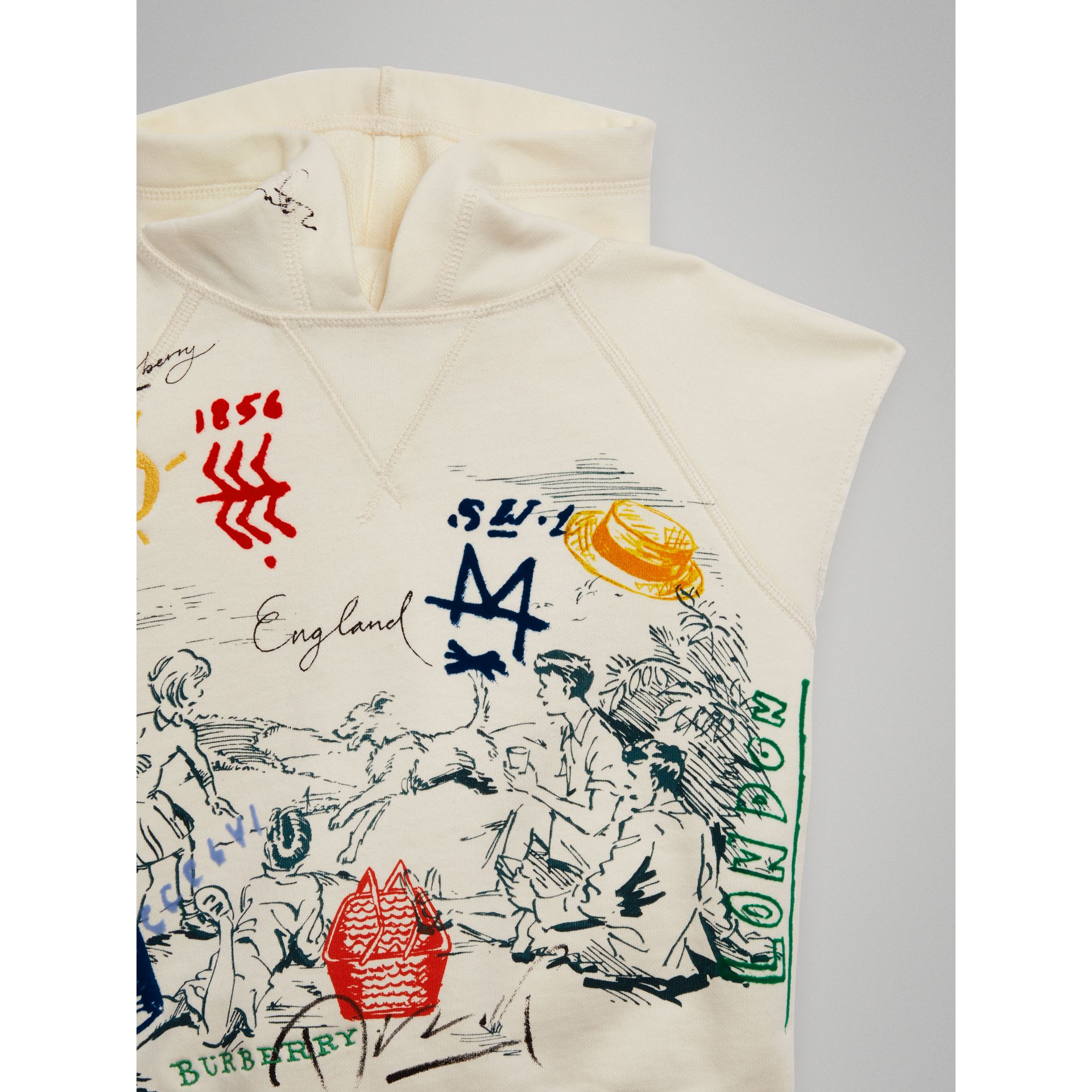 Adventure Print Cotton Sleeveless Hoodie in Chalk White - Boy | Burberry - gallery image 4