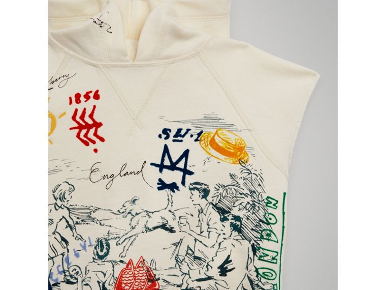 Adventure Print Cotton Sleeveless Hoodie in Chalk White - Boy | Burberry Hong Kong - cell image 4