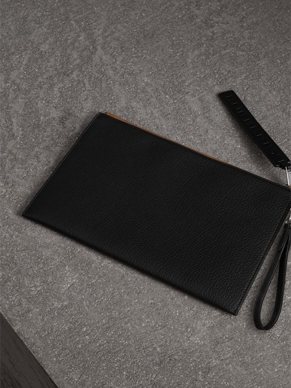 Grainy Leather Zip Pouch in Black | Burberry Canada - cell image 2