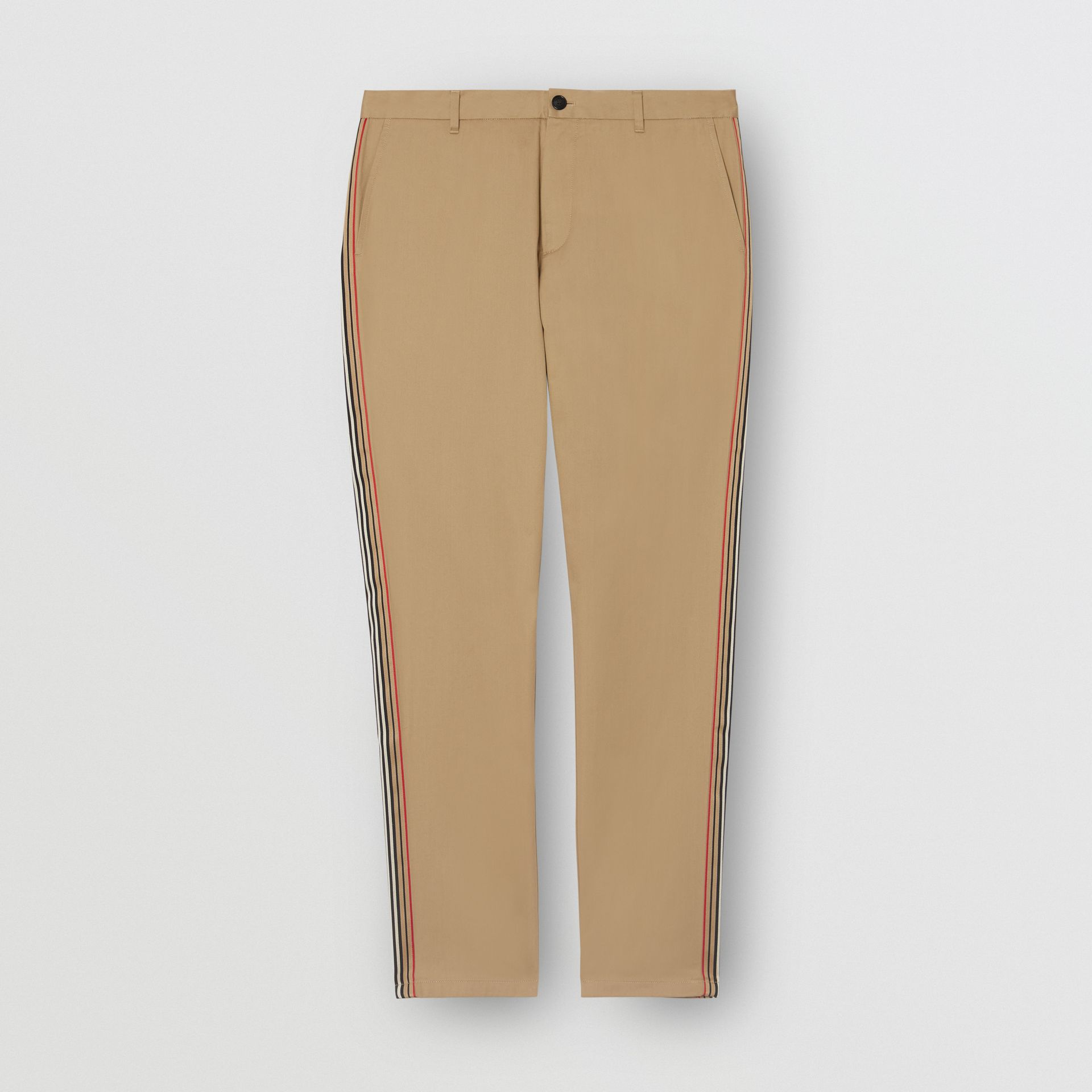 Slim Fit Icon Stripe Detail Cotton Chinos in Honey - Men | Burberry - gallery image 3