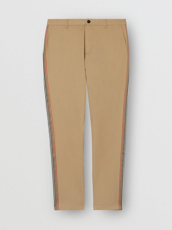 Slim Fit Icon Stripe Detail Cotton Chinos in Honey