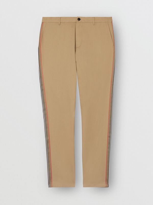 Slim Fit Icon Stripe Detail Cotton Chinos in Honey - Men | Burberry - cell image 3