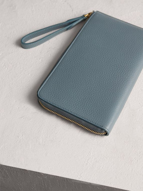 Embossed Leather Travel Wallet in Dusty Teal Blue | Burberry - cell image 2