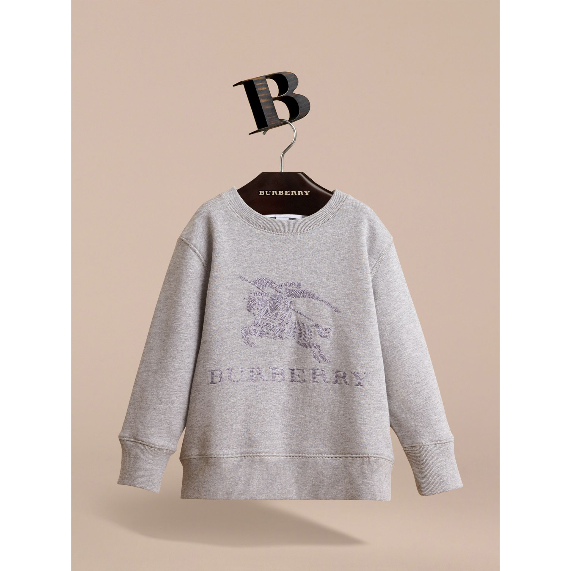 Embroidered Cotton Jersey Sweatshirt in Grey Melange - Boy | Burberry Canada - gallery image 3