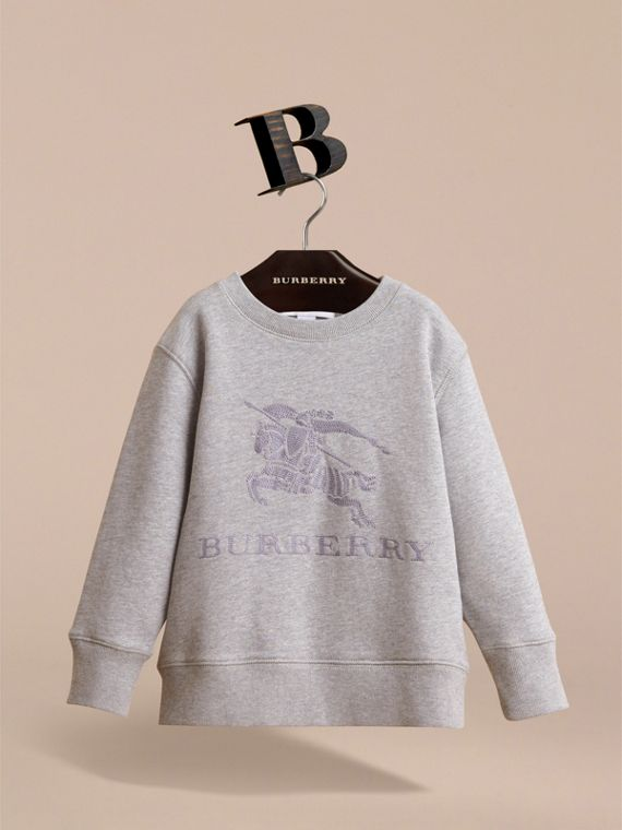 Embroidered Cotton Jersey Sweatshirt in Grey Melange - Boy | Burberry - cell image 2