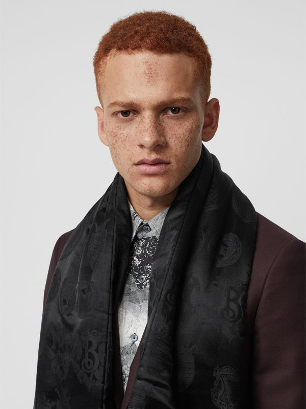 Archive Shield Silk Jacquard Puffer Scarf in Black | Burberry - cell image 3