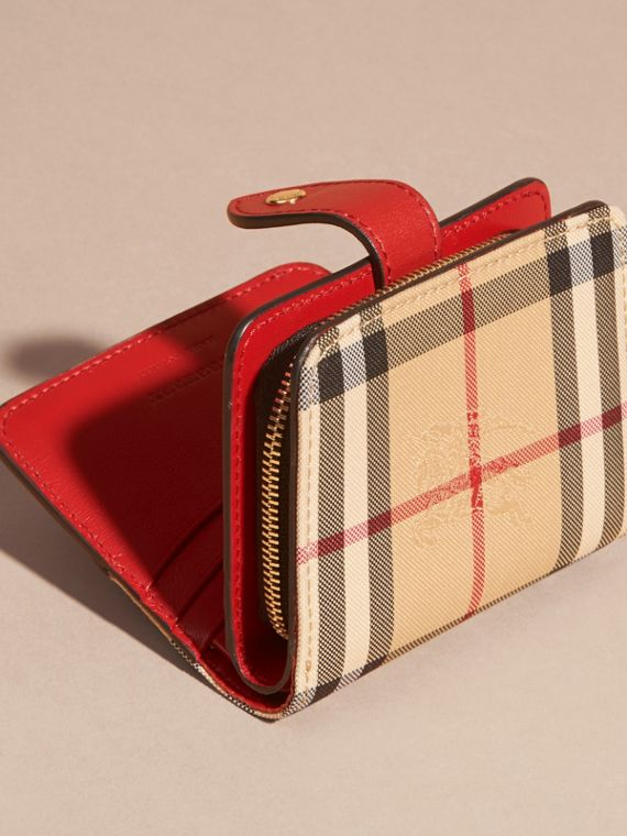 Horseferry Check and Leather Wallet Parade Red - cell image 3