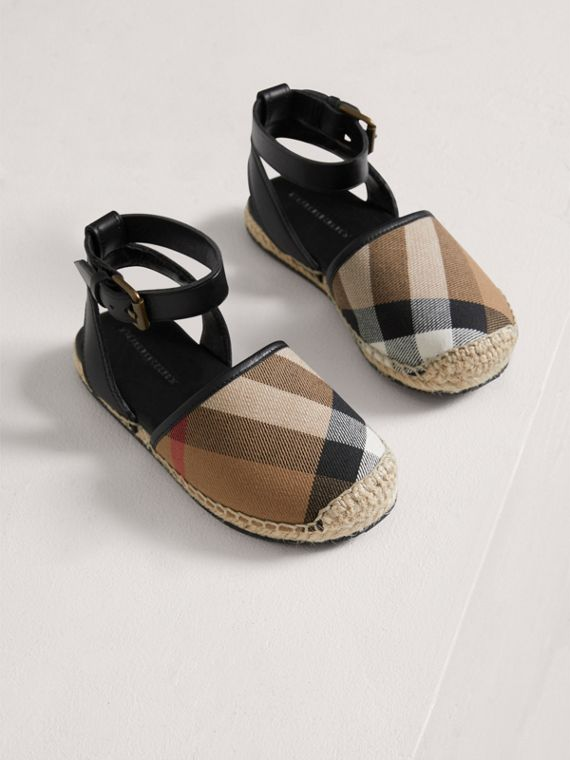 Leather Ankle Strap and House Check Espadrille Sandals in Black - Girl | Burberry - cell image 3