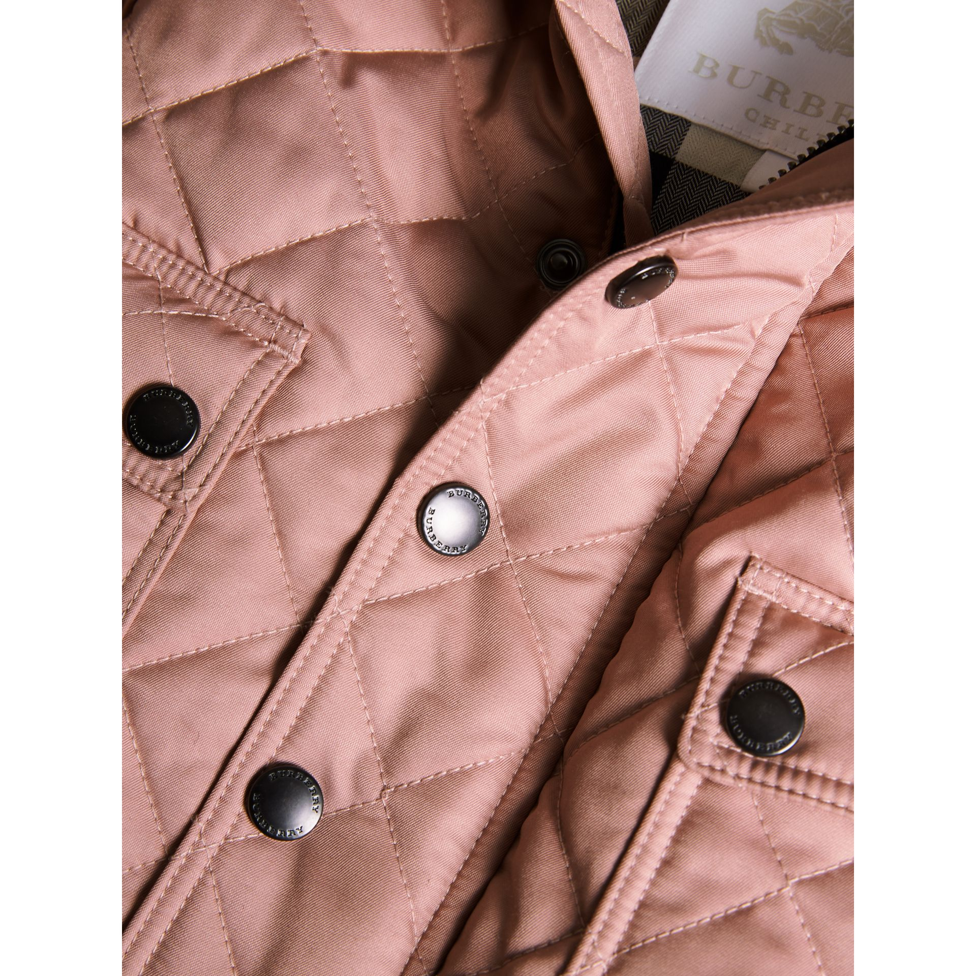 Detachable Hood Quilted Jacket in Pale Rose | Burberry United Kingdom - gallery image 1