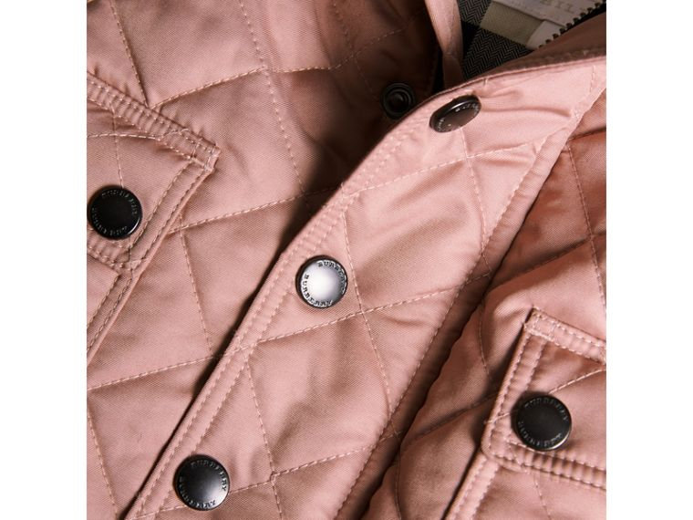 Detachable Hood Quilted Jacket in Pale Rose | Burberry - cell image 1