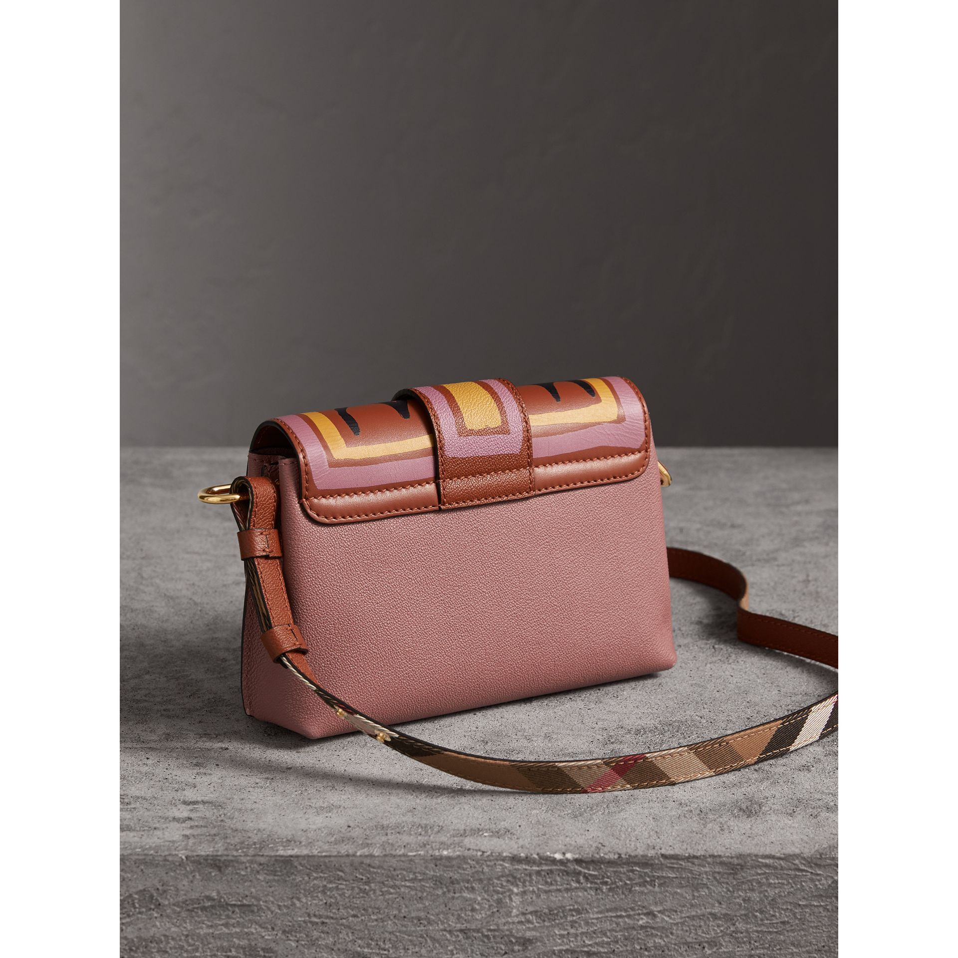 The Buckle Crossbody Bag in Trompe L'oeil Leather in Dusty Pink/bright Toffee - Women | Burberry - gallery image 4