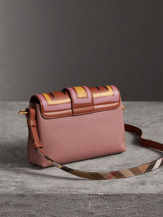 The Buckle Crossbody Bag in Trompe L'oeil Leather in Dusty Pink/bright Toffee - Women | Burberry - cell image 3