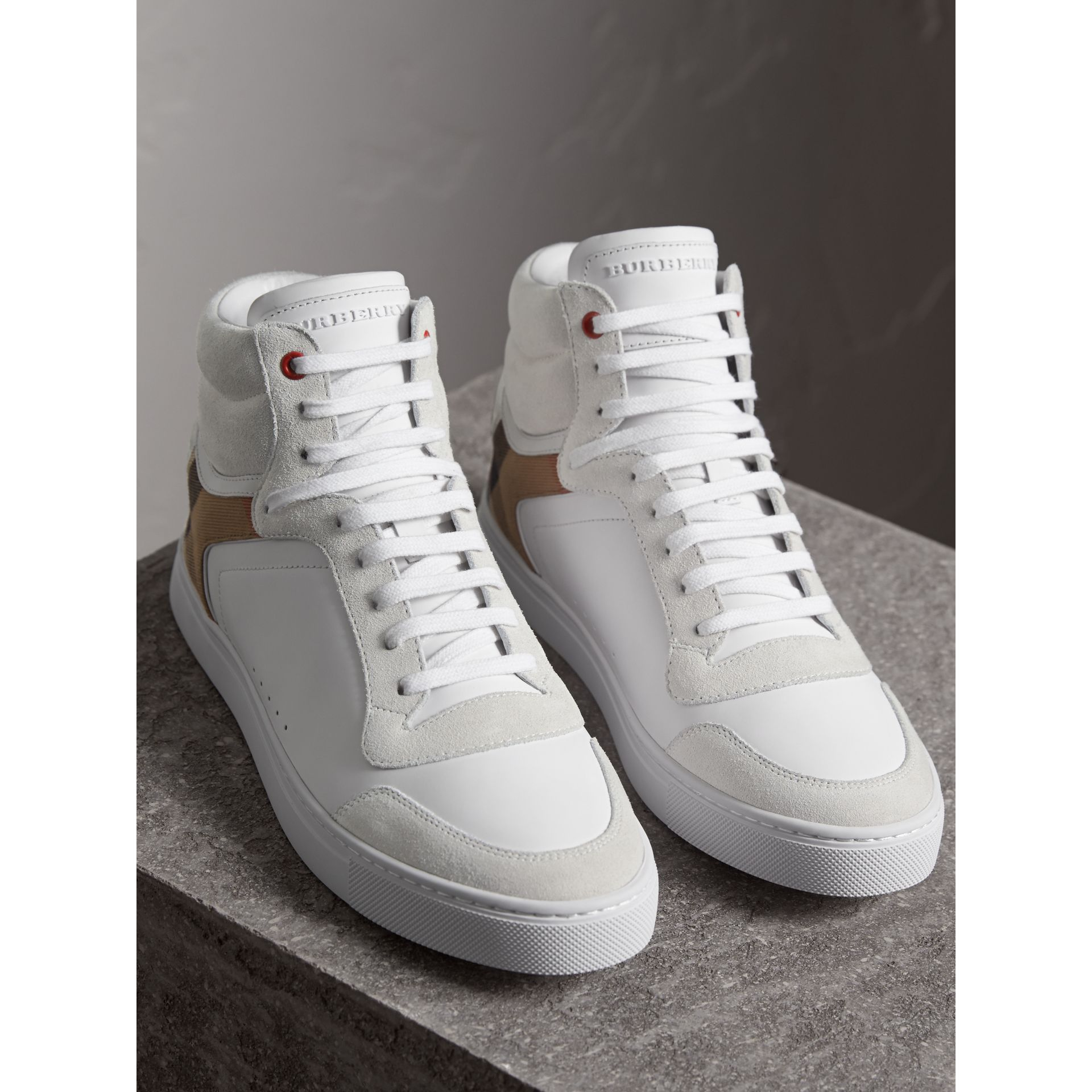 Leather and House Check High-top Sneakers in Optic White - Men | Burberry Australia - gallery image 4