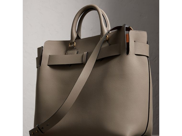 The Large Leather Belt Bag in Mineral Grey | Burberry - cell image 4