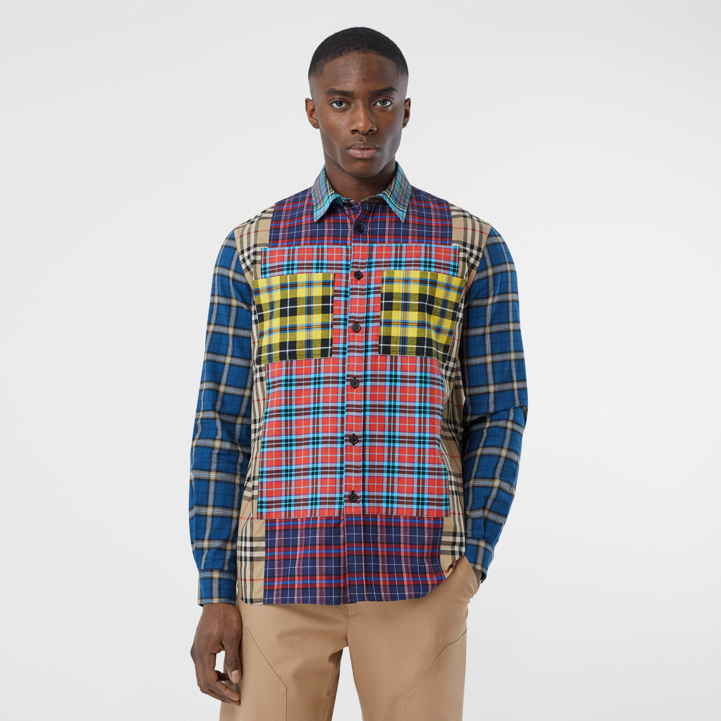 Patchwork Check Cotton Oversized Shirt in Archive Beige - Men | Burberry - 1