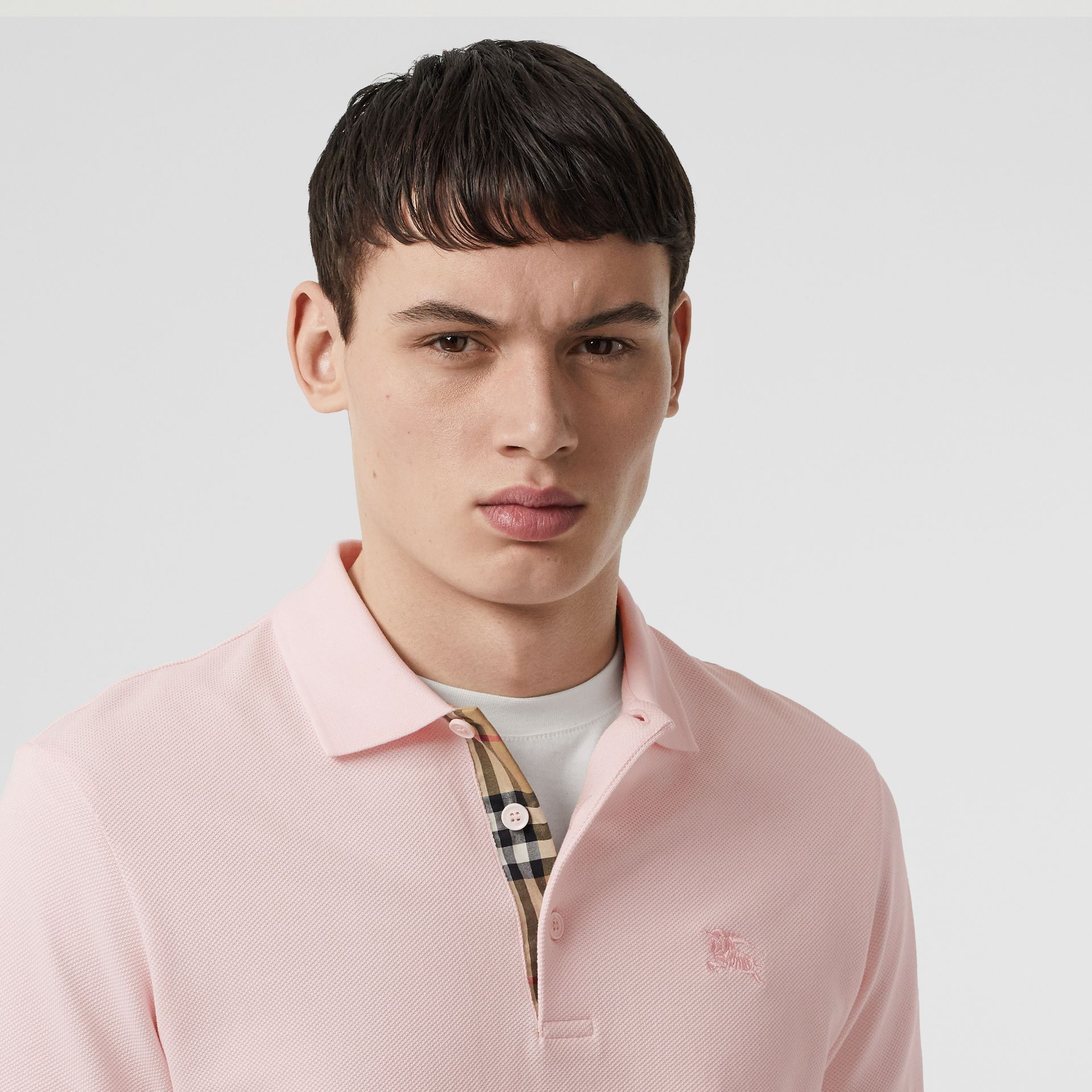 Check Placket Cotton Polo Shirt in Alabaster Pink - Men | Burberry - gallery image 1
