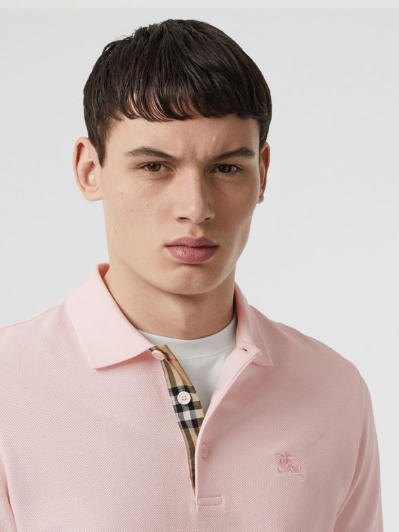 Check Placket Cotton Polo Shirt in Alabaster Pink - Men | Burberry - cell image 1