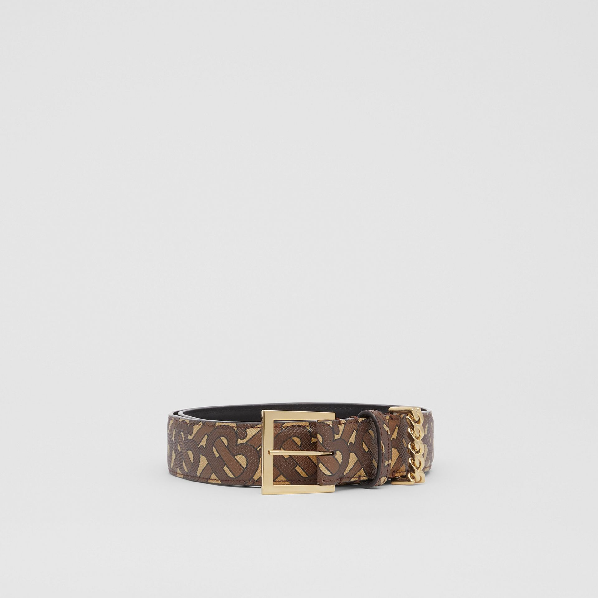 Chain Detail Monogram Print E-canvas Belt in Bridle Brown - Women | Burberry - gallery image 3