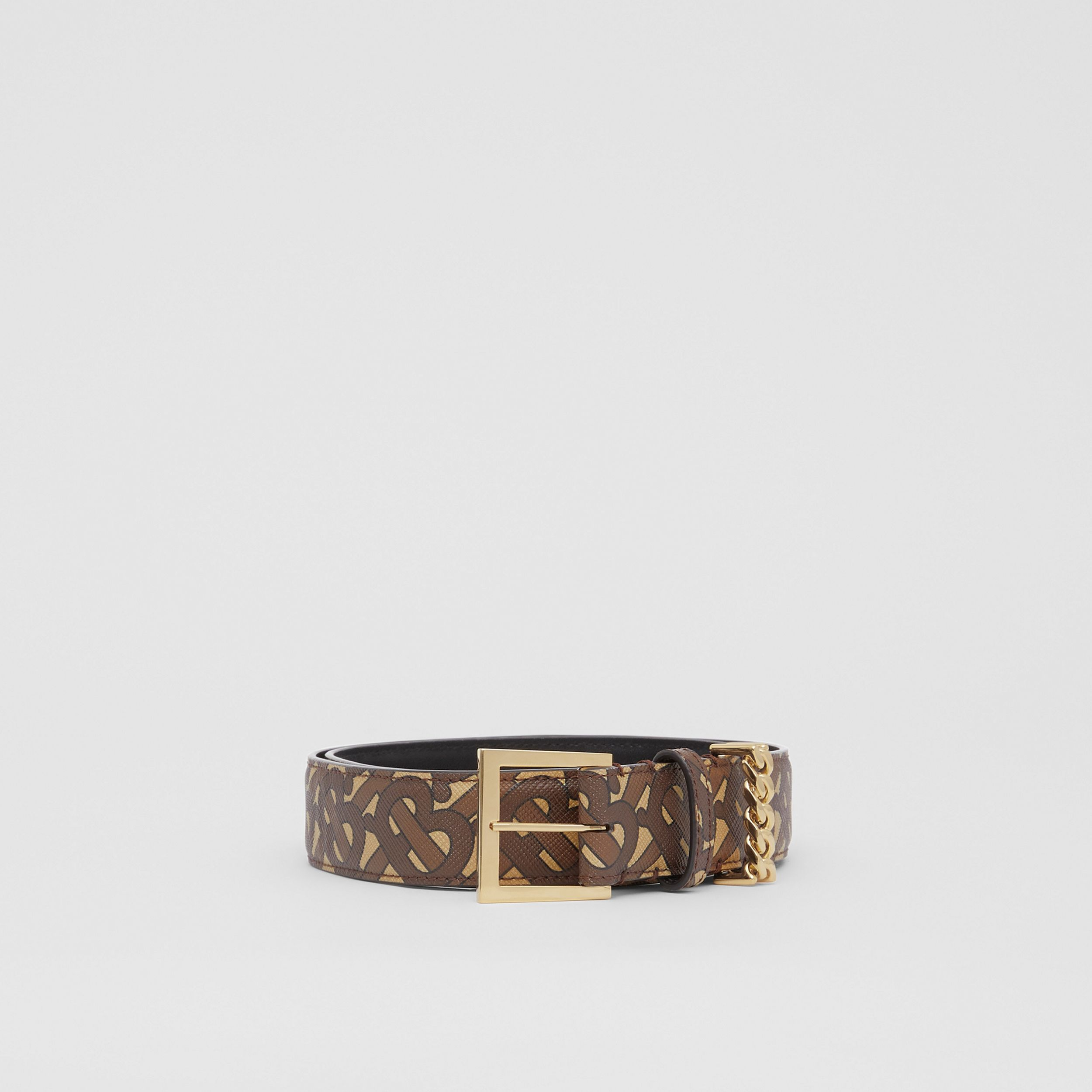 Chain Detail Monogram Print E-canvas Belt in Bridle Brown | Burberry - 4
