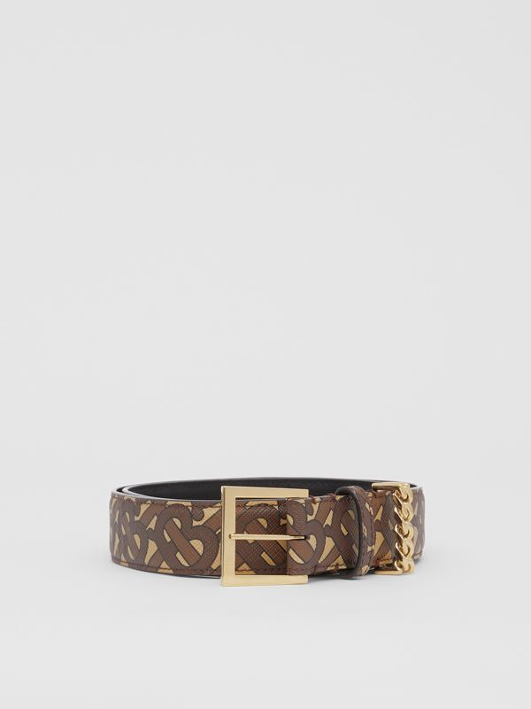 Chain Detail Monogram Print E-canvas Belt in Bridle Brown - Women | Burberry - cell image 3