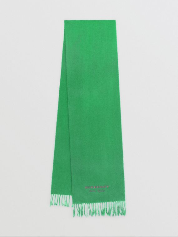 Embroidered Cashmere Fleece Scarf in Tourmaline Green