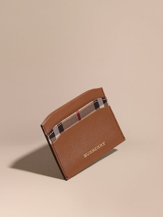 Check and Leather Card Case in Tan