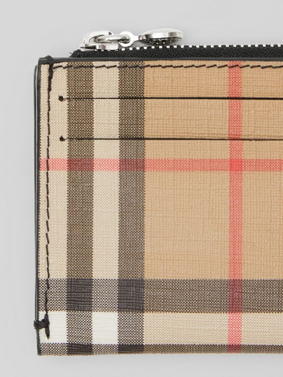 Vintage Check and Leather Zip Card Case in Black - Women | Burberry United Kingdom - cell image 1