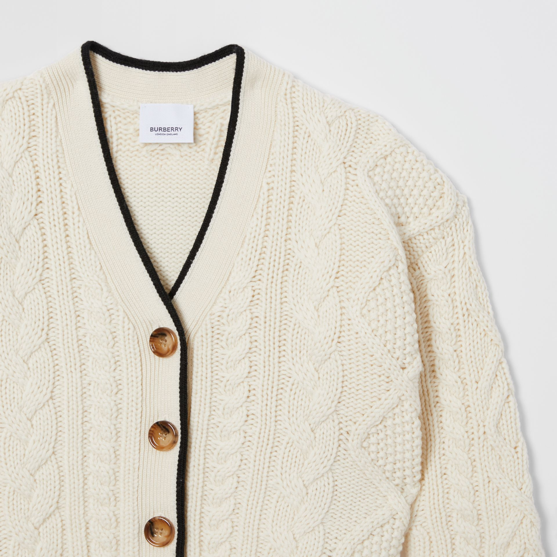 Logo Panel Cable Knit Wool Cashmere Cardigan in Ivory | Burberry - gallery image 4