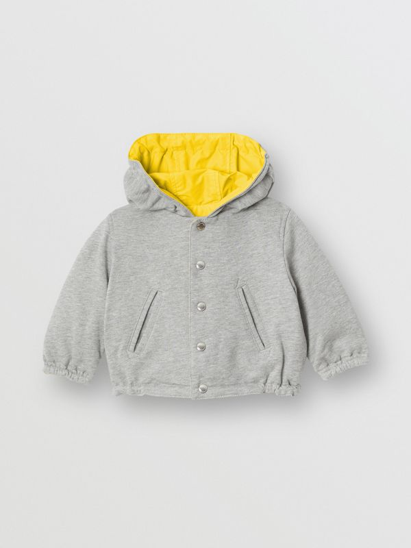 Reversible Logo Print Hooded Jacket in Bright Yellow - Children | Burberry - cell image 3