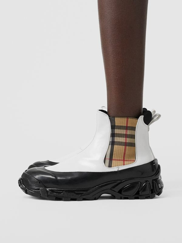 Vintage Check Detail Coated Canvas Chelsea Boots in White / Archive Beige - Women | Burberry United Kingdom - cell image 2