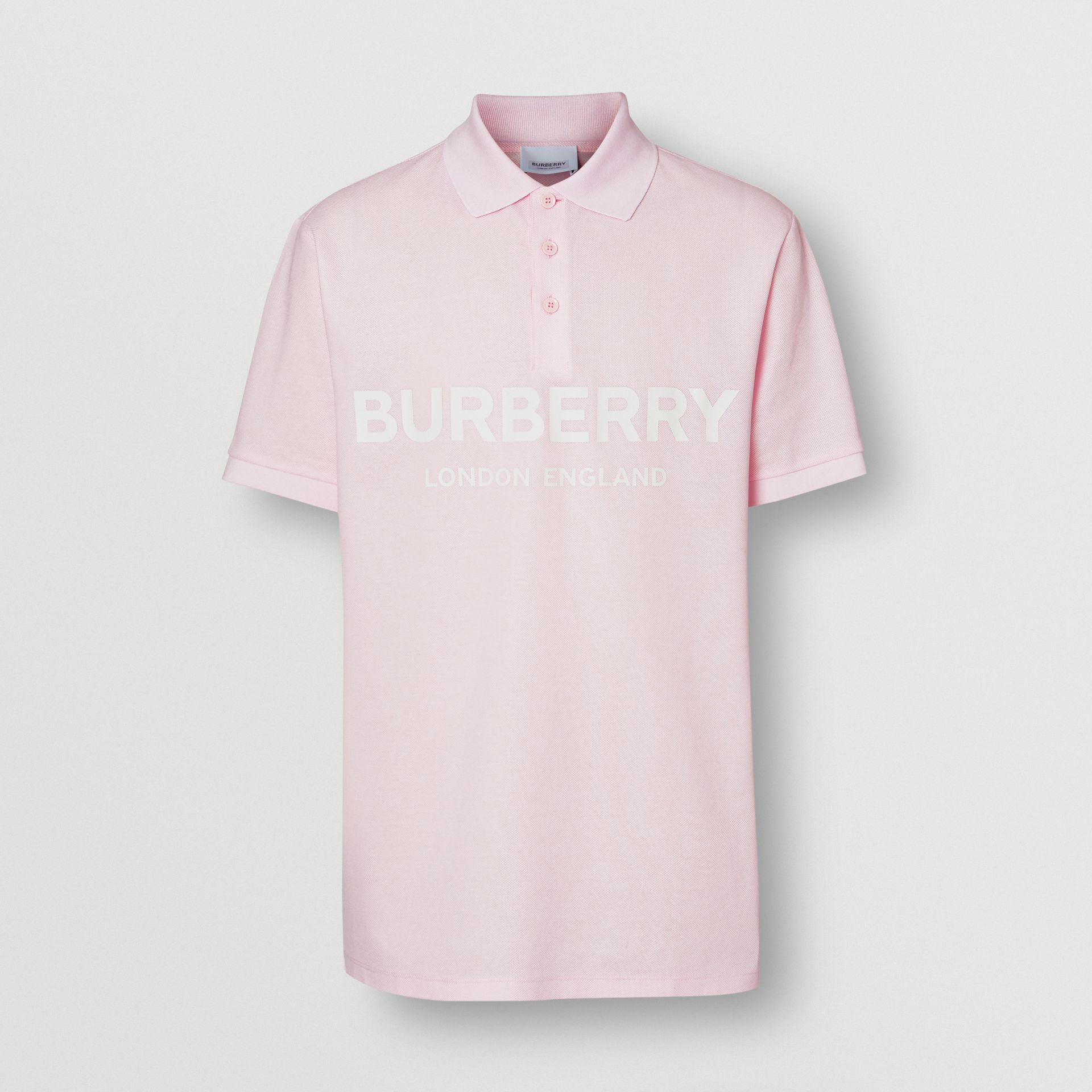 Logo Print Cotton Piqué Polo Shirt in Alabaster Pink - Men | Burberry - gallery image 3