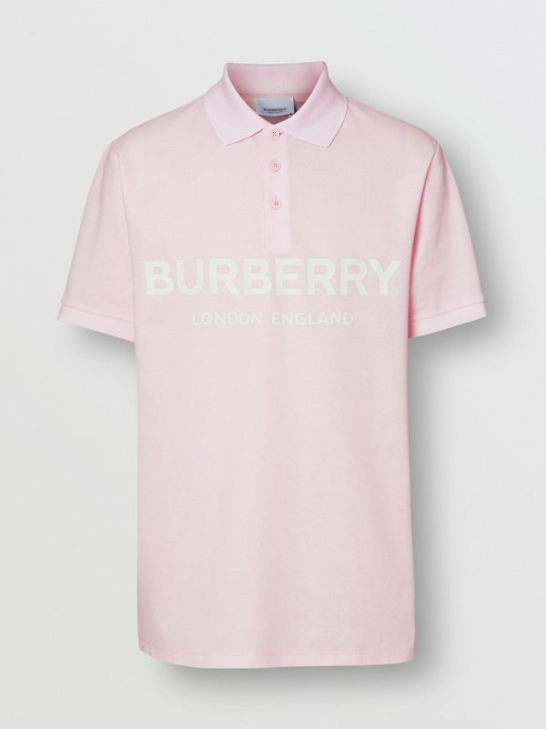 Logo Print Cotton Piqué Polo Shirt in Alabaster Pink - Men | Burberry - cell image 3