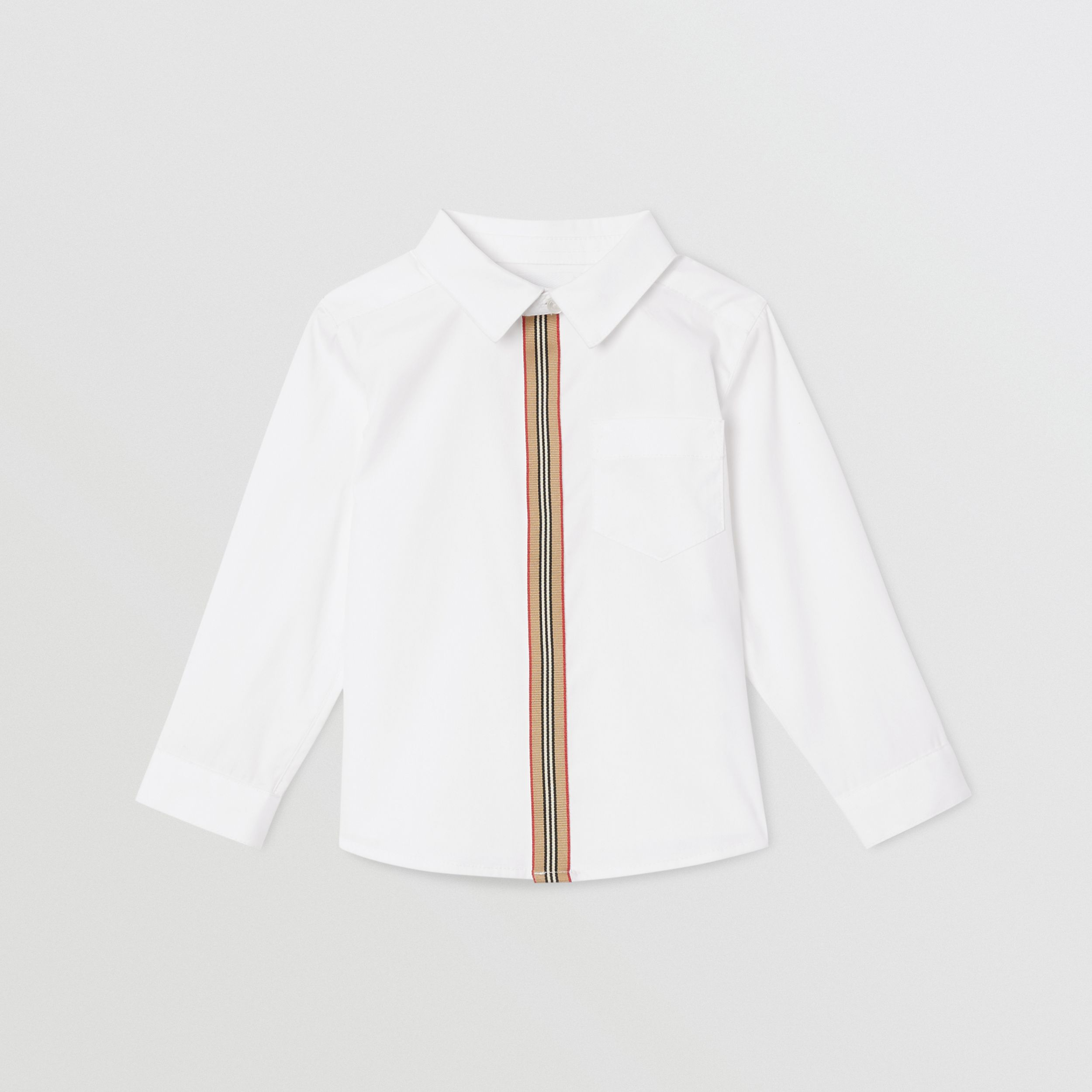 Icon Stripe Trim Stretch Cotton Shirt in White - Children | Burberry - 1