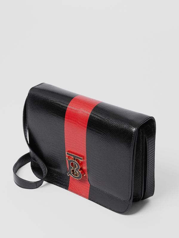 Medium Striped Embossed Leather TB Bag in Black - Women | Burberry United States - cell image 3