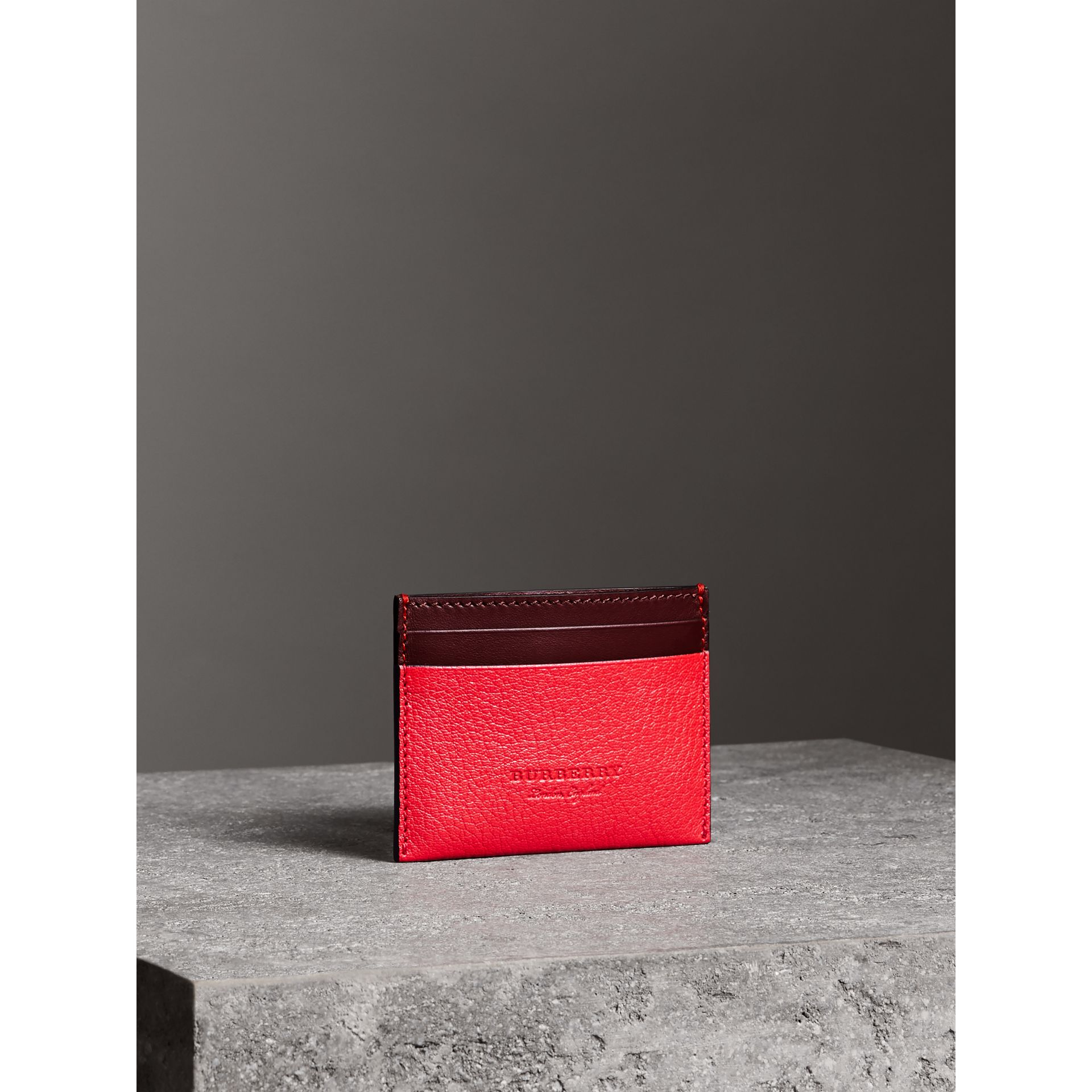 Two-tone Leather Card Case in Bright Red - Women | Burberry - gallery image 4